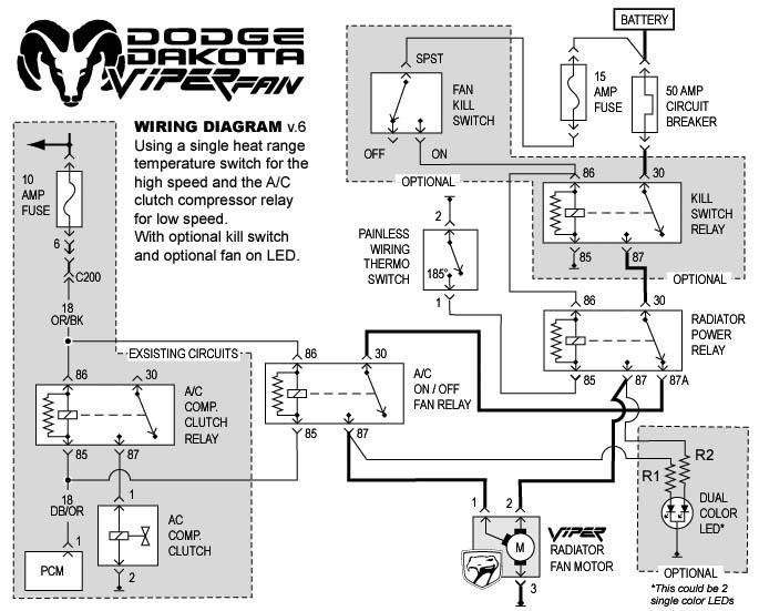 viper fan install rh faq dakota truck net Dodge Truck Wiring Diagram Dodge Factory Radio Wiring Diagram